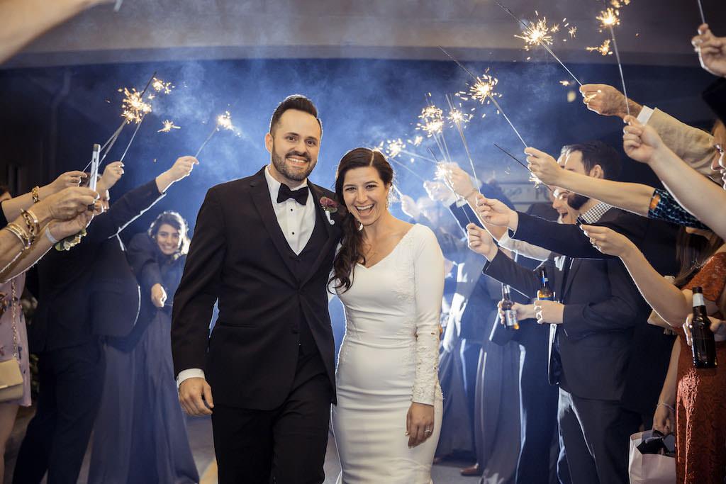 Florida Bride and Groom Wedding Reception Sparkler Exit |St. Petersburg Venue Isla Del Sol Yacht and Country Club