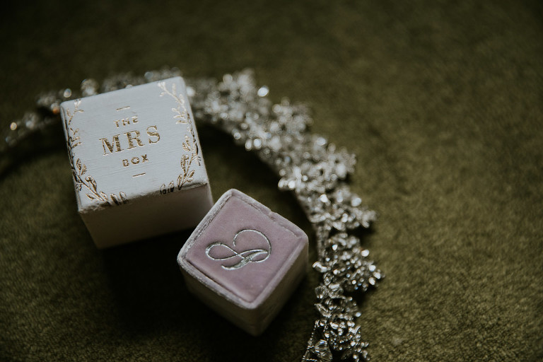 Blush Pink Velvet and Gold Monogram Initial The Mrs Ring Box | Tampa Bay Wedding Photographer Brandi Image Photography