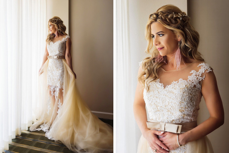 Florida Bride Getting Ready Portrait, Bride in Lace and Illusion High Scoop Neckline and Satin Champagne Belt and Tulle Train with Beaded Down Bridal Hair Do   Tampa Bay Wedding Hair and Makeup Femme Akoi