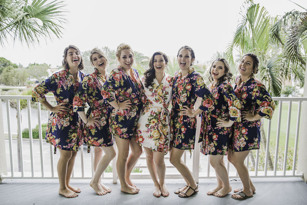 Bride and Bridesmaids Getting Ready Wedding Portrait in Blue Floral Matching Robes