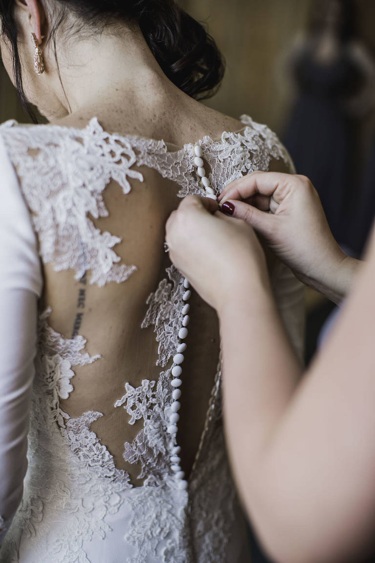 Bride Getting Ready Wedding Portrait, Lace and Illusion Button Down Back Wedding Dress