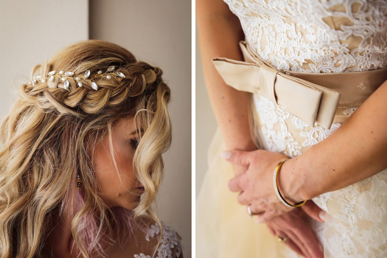 Florida Bride Getting Ready Portrait, Boho Chic Braided and Wavy Bridal Hair with Antique Gold Rhinestone Hair Vine Bridal Hair Jewelry, Lace and Illusion White and Nude Wedding Dress with Champagne Satin Bow Belt | Tampa Bay Wedding Hair and Makeup Femme Akoi