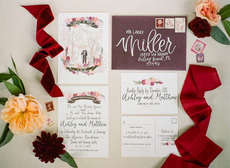 Boho Chic Inspired Personalized Watercolor Wedding Invitation Suite