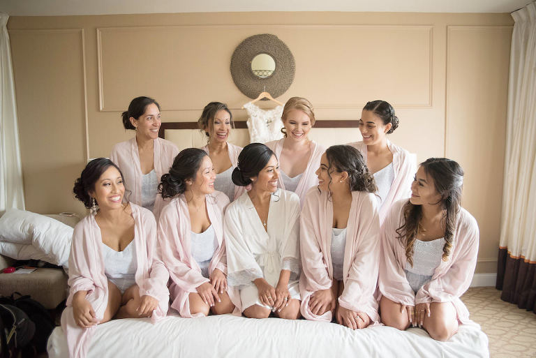 Bride and Bridesmaids Getting Ready Wedding Portrait, Bridesmaids in Blush Pink Robes | Tampa Bay Wedding Photographer Kristen Marie Photography