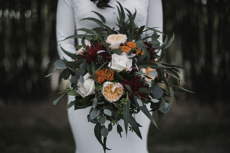 Bride with Blush Pink, Burgundy, Burnt Organic, White and Greenery Floral Bouquet Wedding Portrait