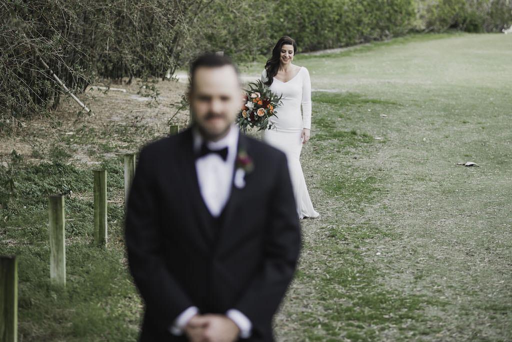 Outdoor Florida Bride and Groom First Look Wedding Portrait