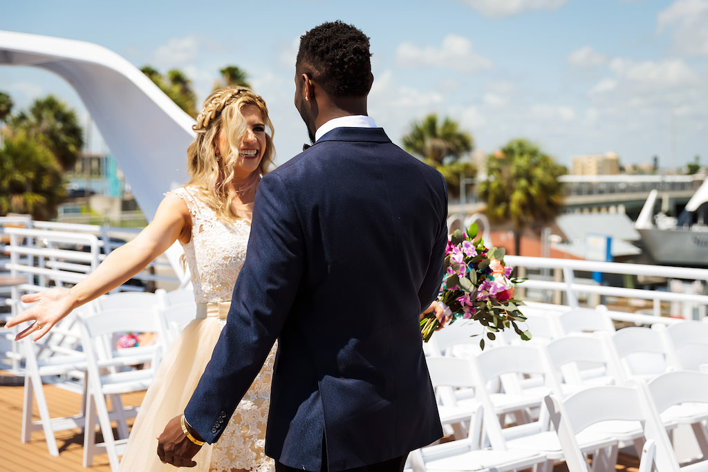 Florida Bride and Groom First Look Wedding Portrait on Deck of Yacht | Tampa Bay Waterfront Wedding Venue Yacht Starship IV