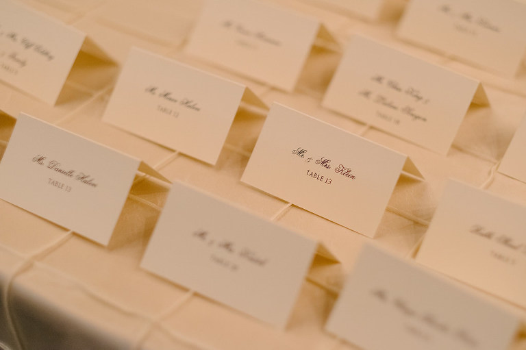 Elegant, Timeless Traditional Black and White Escort Cards Seating Chart with Script Font