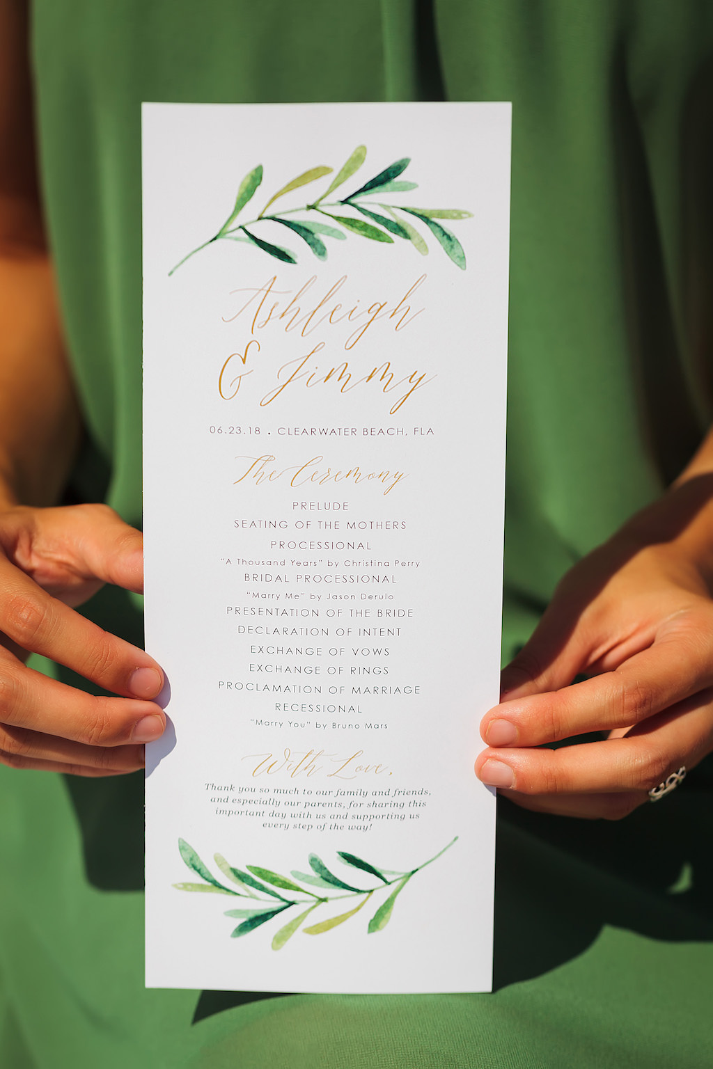 Boho Chic Inspired White and Green Leaf Wedding Program
