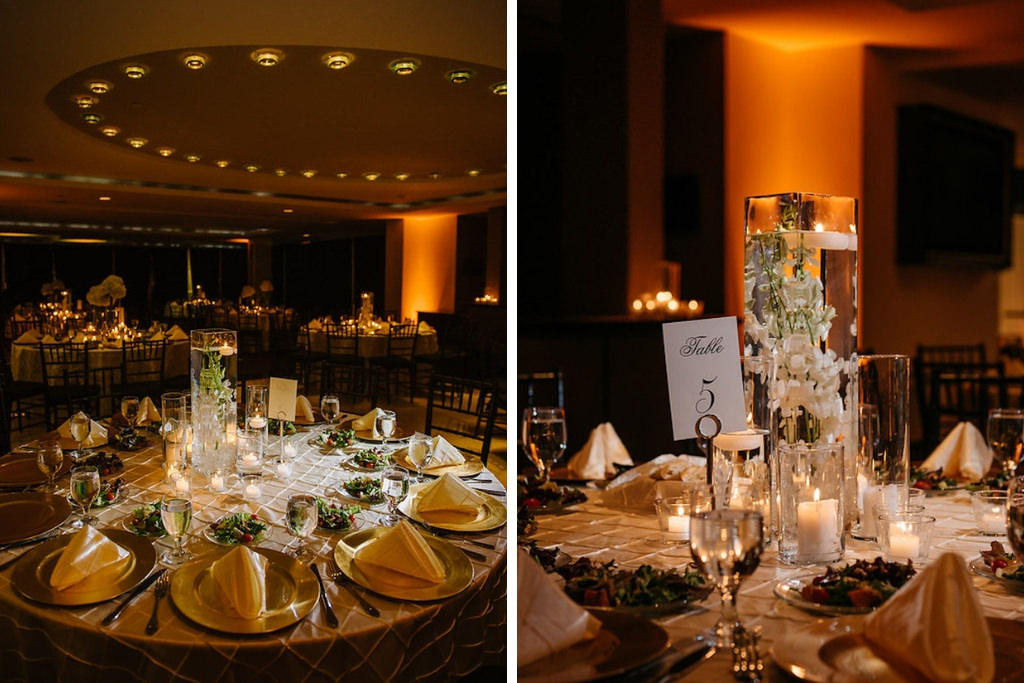 Elegant, Timeless Traditional Black and White Centerpieces with Gold Chargers and Pintuck Linens   Downtown St. Pete Wedding Venue the Mahaffey Theatre