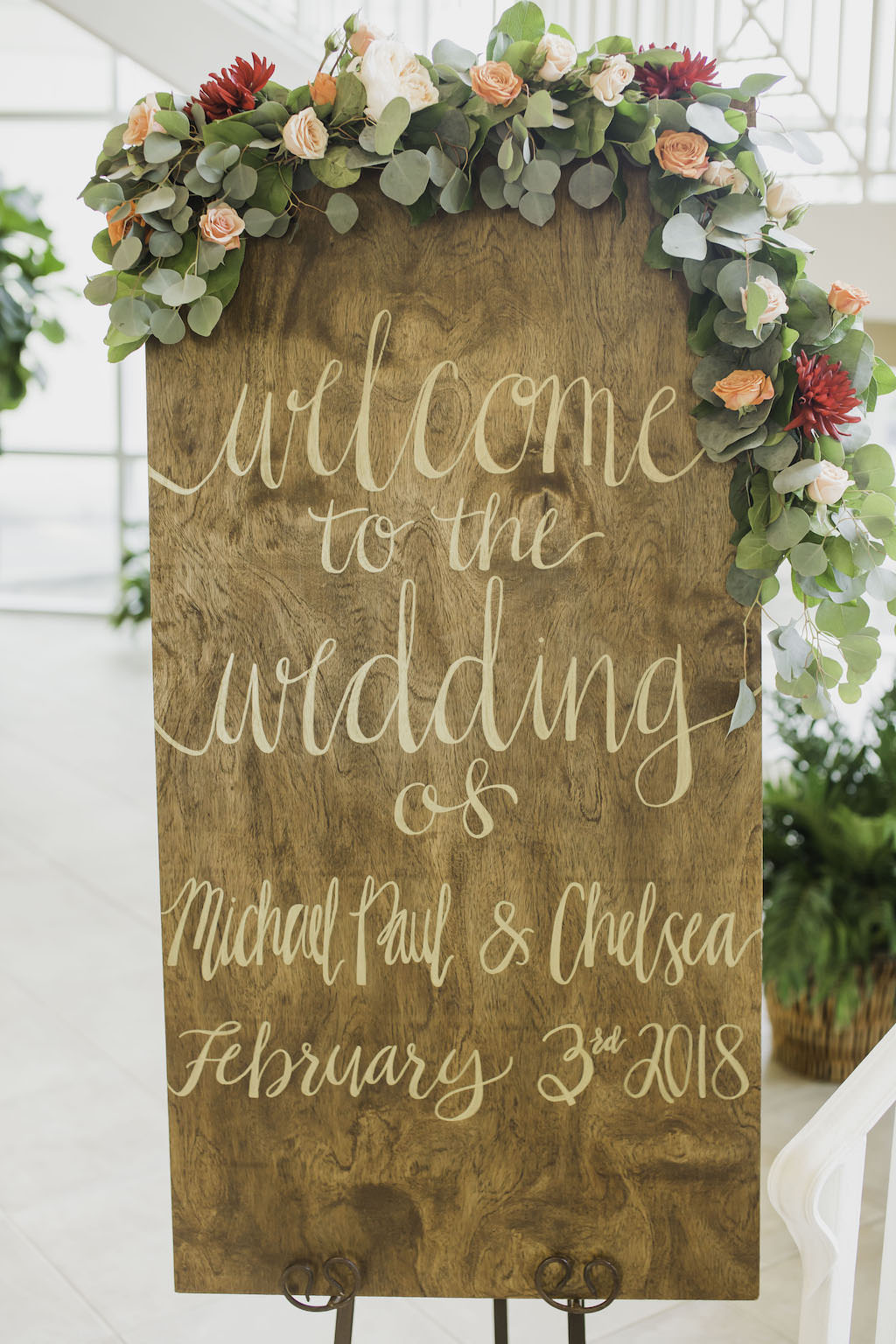 Rustic Wooden Wedding Welcome Sign with Greenery Blush Pink, Orange and Red Floral Decor