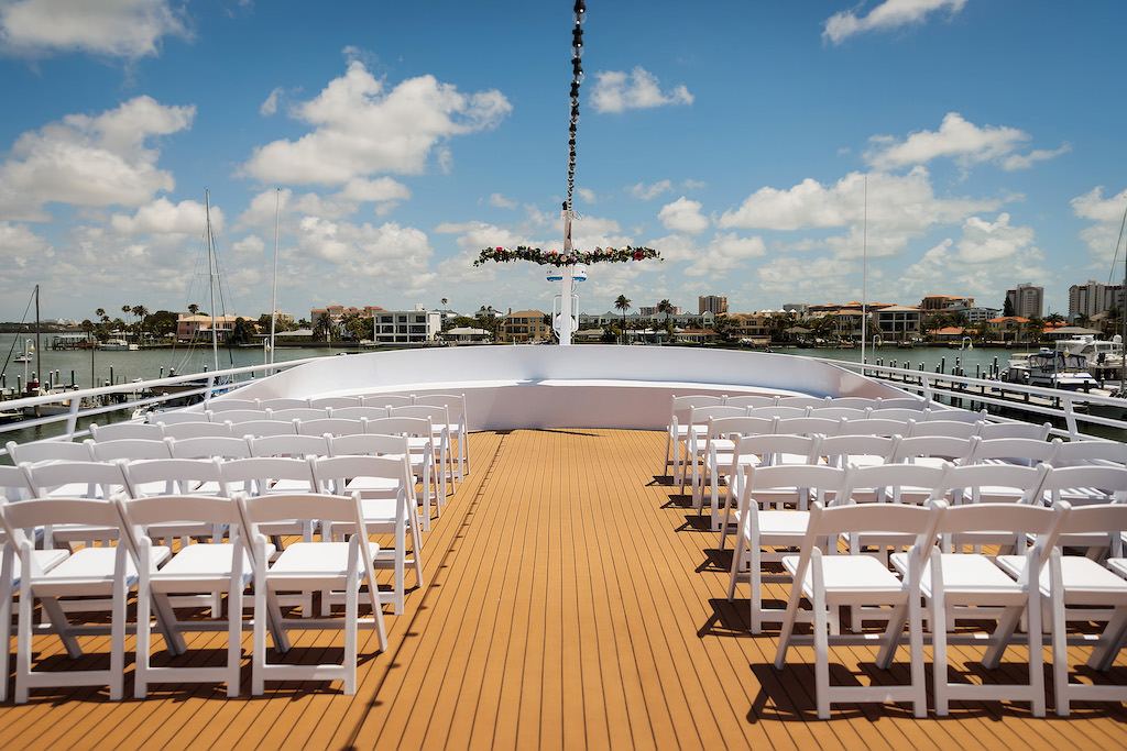 Tampa Outdoor Wedding Ceremony on Tampa Waterfront Wedding Venue Yacht Starship IV