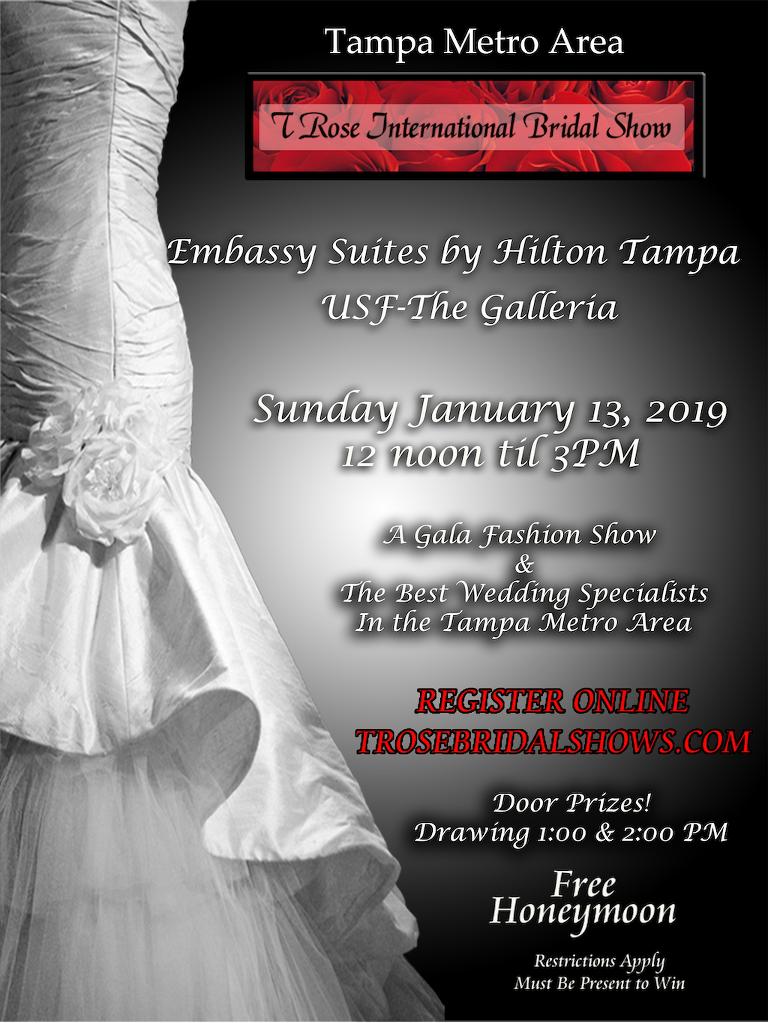 Tampa Bay Bridal Show, Sunday January 13, 2019 at Embassy Suites Tampa USF