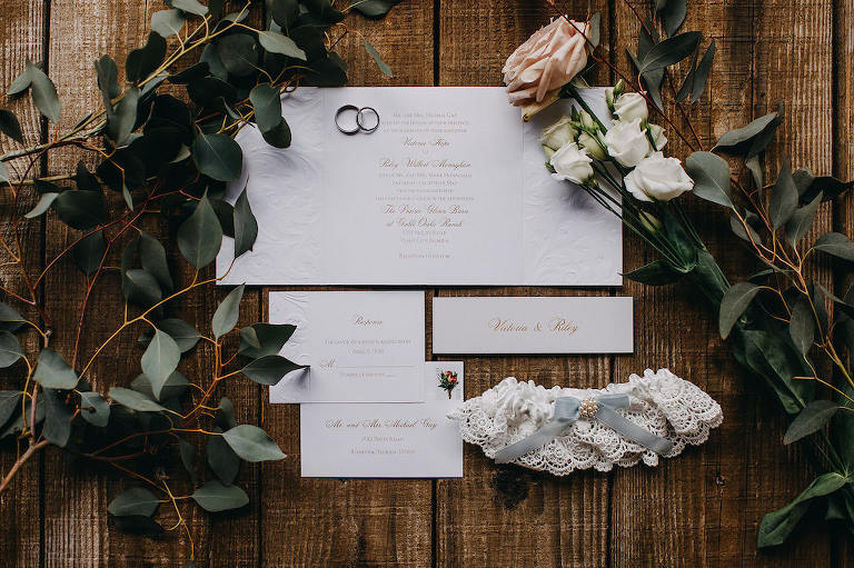 Rustic Inspired Wedding Invitation Suite, Lace Garter with Blue Ribbon and Pearls, Greenery and Blush Pink, White Roses