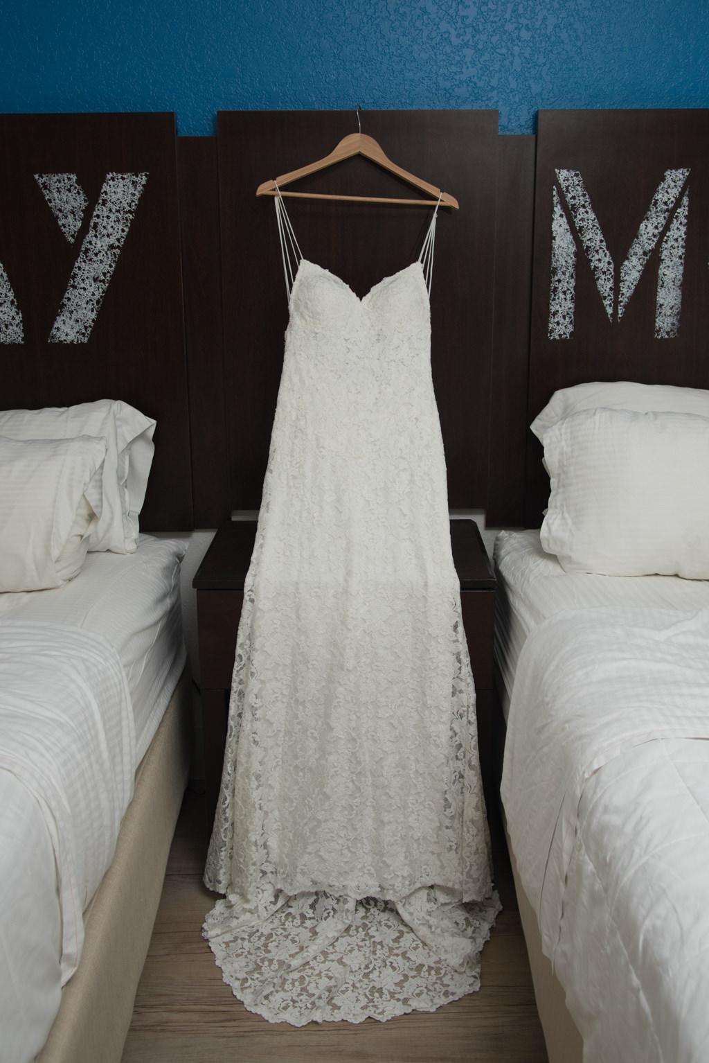 Lace Spaghetti Strap V Neckline Fitted Wedding Dress