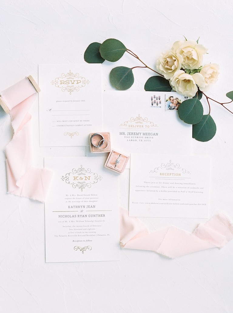 Modern Elegant White and Gold Foil Wedding Invitation Suite, Engagement Ring and Wedding Rings in Blush Pink Velvet Ring Box