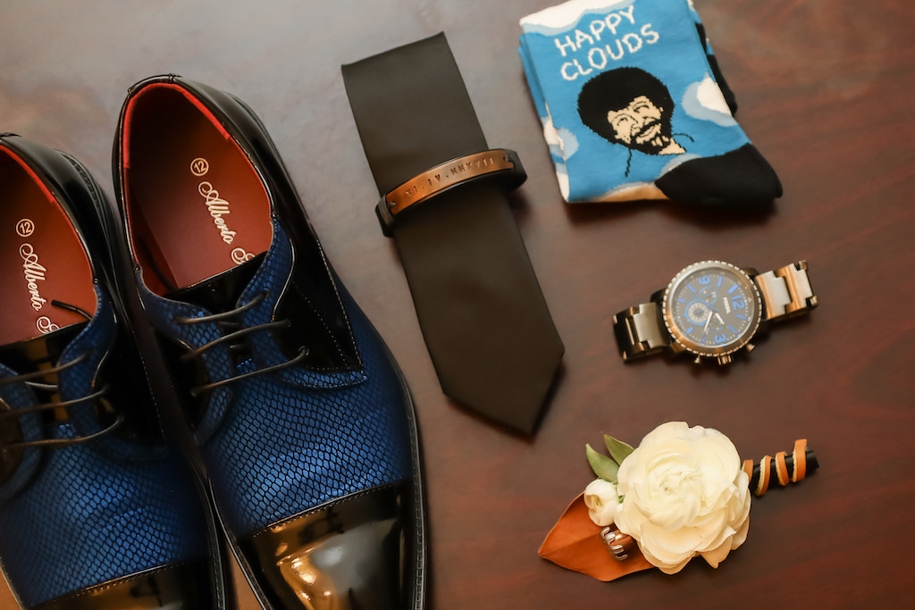 Blue and Black Wingtip Groom Wedding Shoes, Black Tie with Personalized Tie Bar, White Rose Boutonniere and Leather, Mens Watch, Fun Crazy Socks   Tampa Bay Wedding Photographer Lifelong Photography Studios