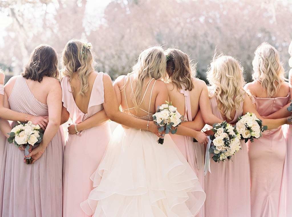 Florida Bride and Bridesmaids Outdoor Wedding Portrait, Bridesmaids in Mismatched Blush Pink Long Dresses, Bride in Watters Flowy Ballgown Strappy Wedding Dress with Ivory Garden Roses and Silver Dollar Eucalyptus Greenery Floral Bouquets | Tampa Bay Wedding Florist Cotton & Magnolia
