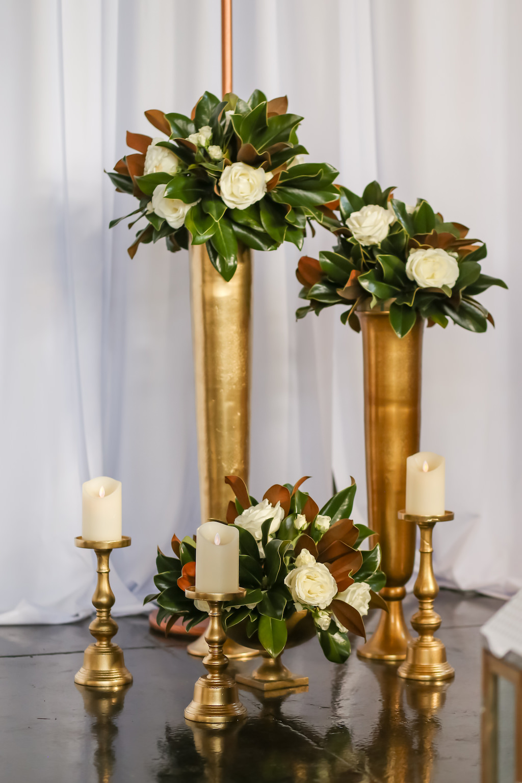 Industrial Inspired Wedding Ceremony Decor, Gold Metal Vases with White Rose and Greenery Florals, Gold Candlesticks   Tampa Bay Wedding Photographer Lifelong Photography Studios   Wedding Rentals A Chair Affair