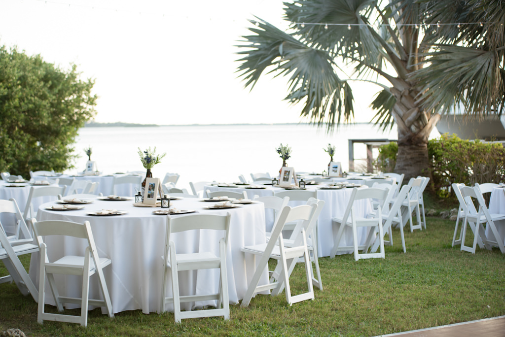 Outdoor Waterfront Florida Wedding Reception Decor Round Tables