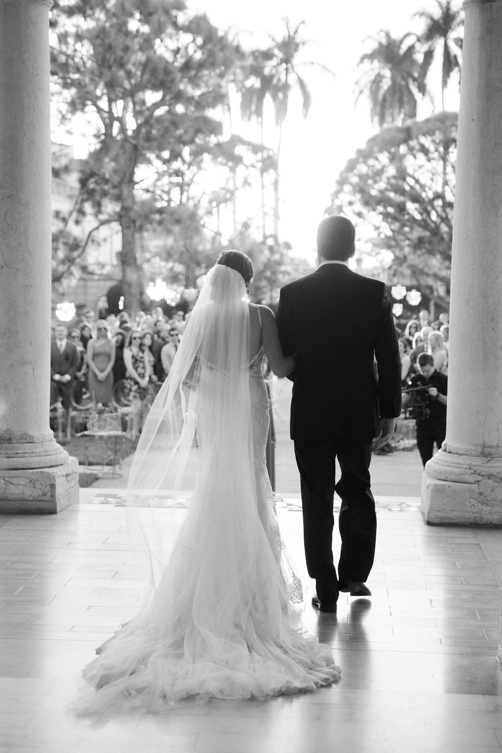 Black and White Florida Bride and Father Walking Down the Aisle Wedding Ceremony Portrait