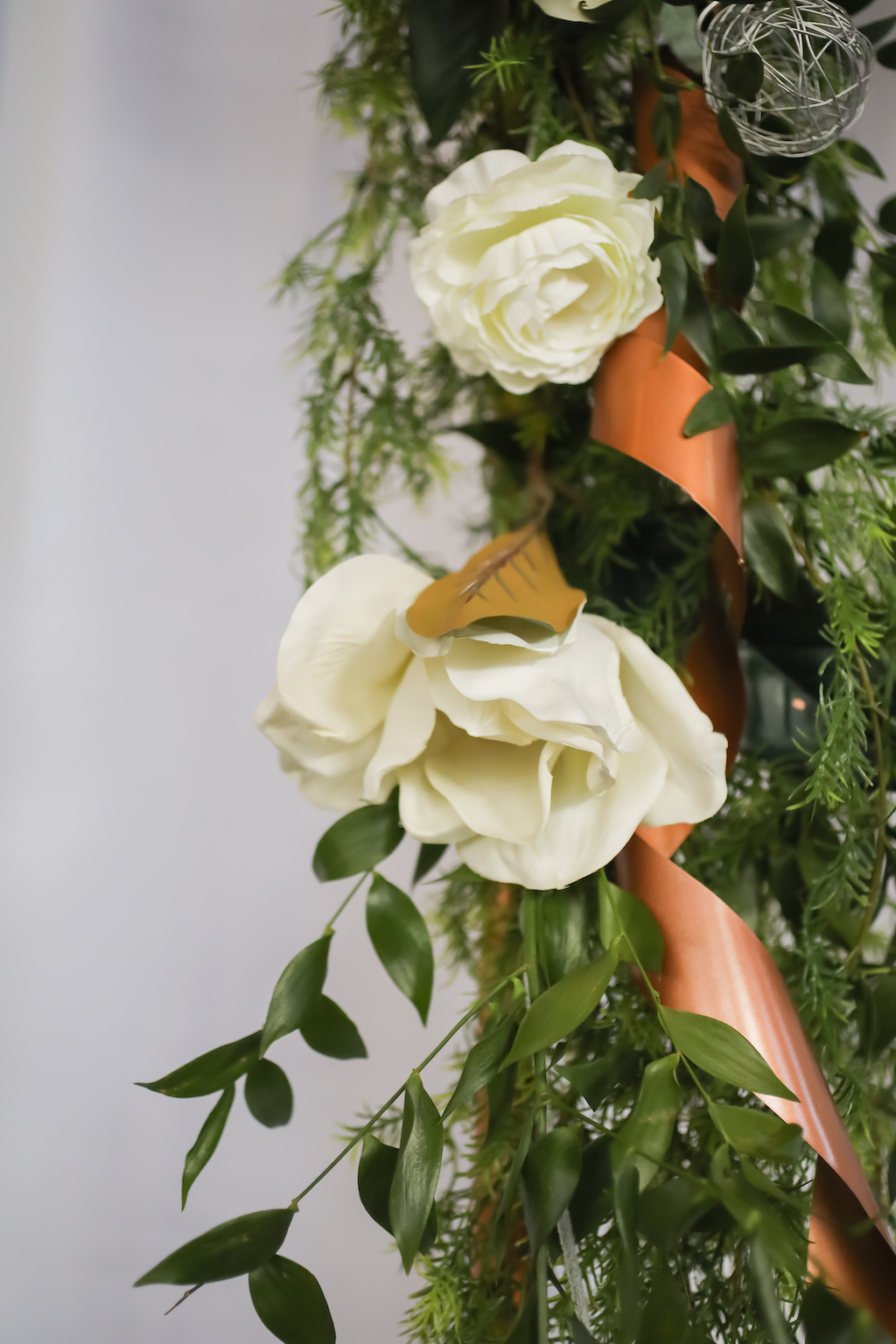 White Rose and Greenery Florals and Bronze Metal Ribbon   Tampa Bay Wedding Photographer Lifelong Photography Studios