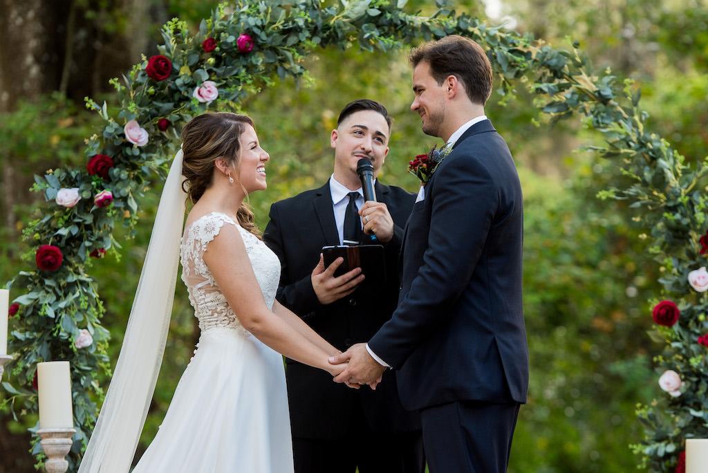 Florida Bride and Groom Exchanging Vows at Rustic Outdoor Garden Wedding Ceremony | Rustic Tampa Wedding Venue Kathleen's Garden