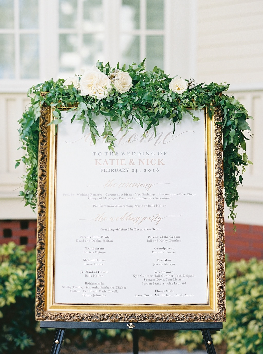 Garden Inspired Wedding Ceremony Decor, Vintage Gold Frame with Ivory and Gold Foil Wedding Program and Greenery and Ivory Rose Garland | Bradenton Wedding Florist Cotton & Magnolia