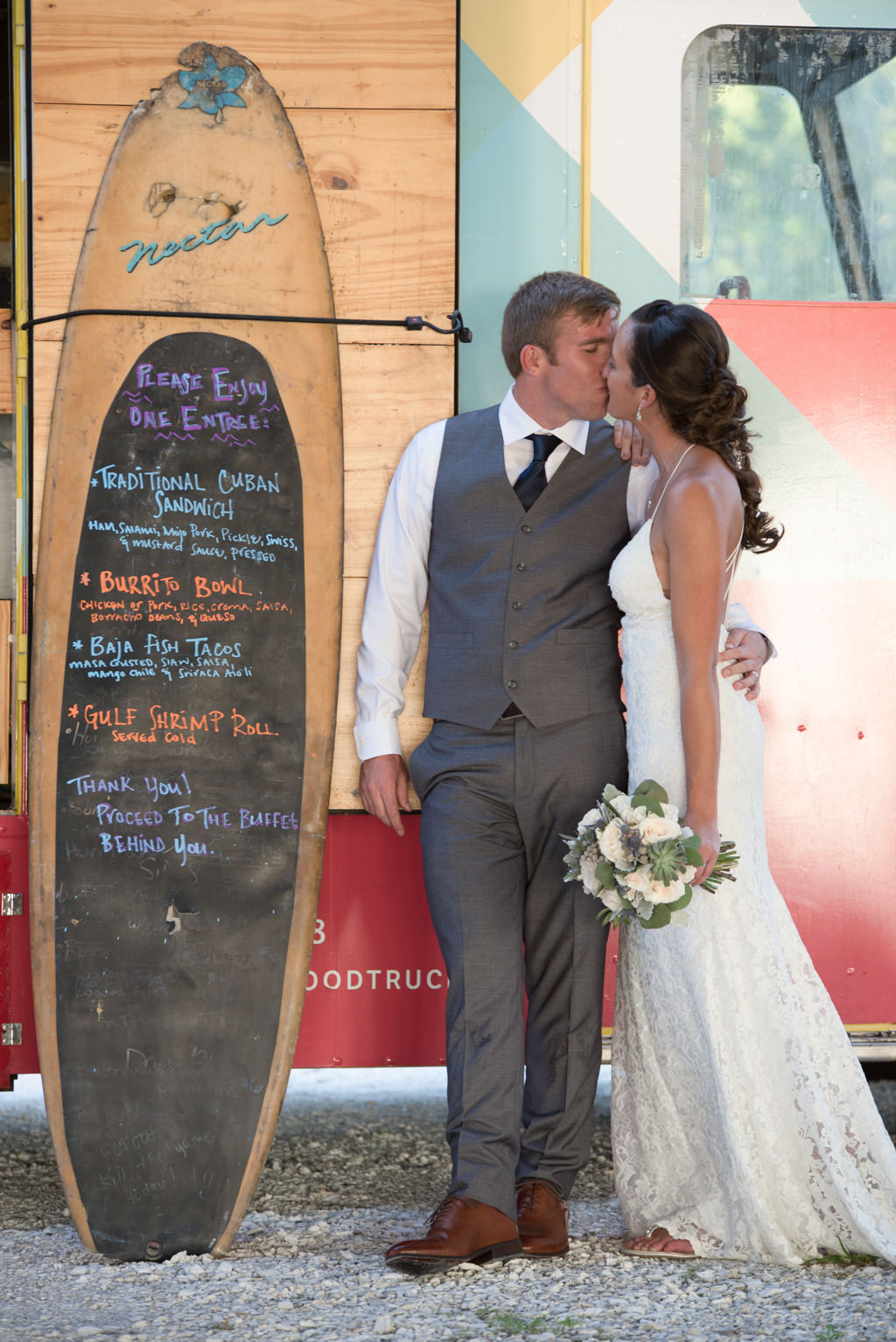 Florida Bride and Groom Wedding Portrait Out Front of Tastes of Tampa Bay Food Truck Street Surfer | Tampa Bay Wedding Caterer