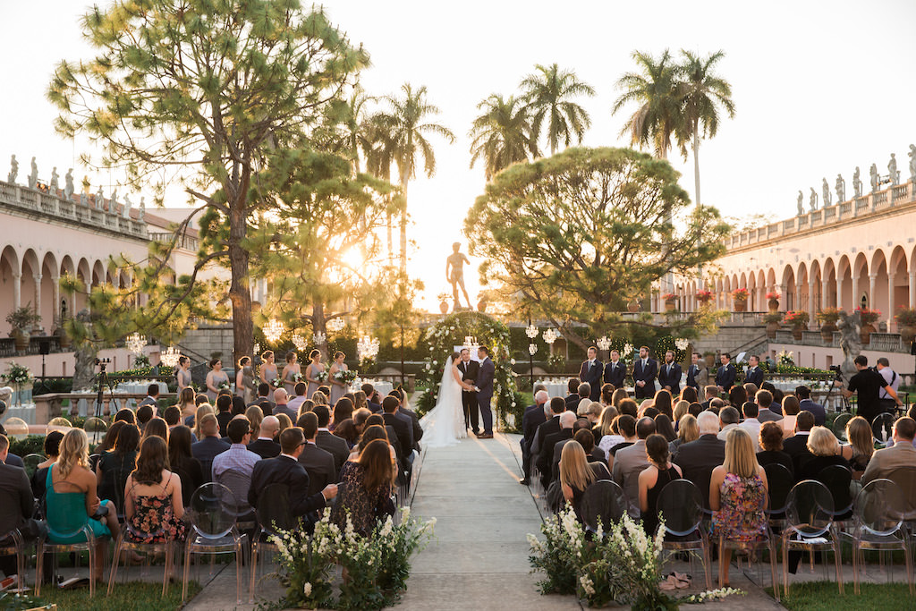 Florida Bride and Groom Sunset Wedding Ceremony Garden Courtyard Portrait | Sarasota Wedding Venue RIngling Museum | Tampa Bay Wedding Planner NK Weddings