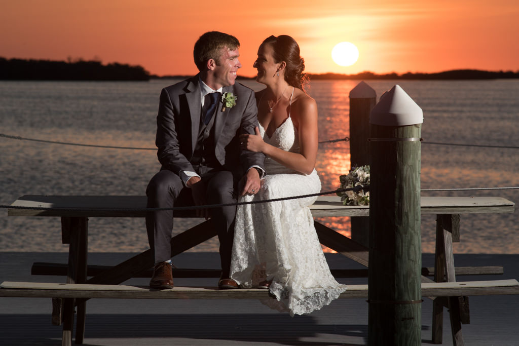 Florida Bride and Groom Waterfront Sunset Wedding Portrait