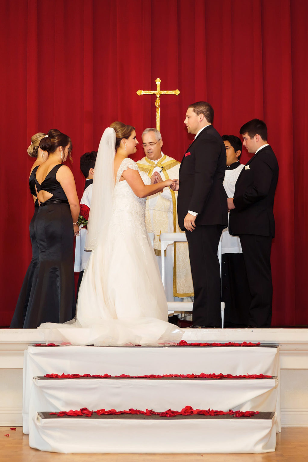 Classic Traditional Wedding Ceremony with Red Rose Petal Aisle | Ybor City Wedding Venue The Italian Club
