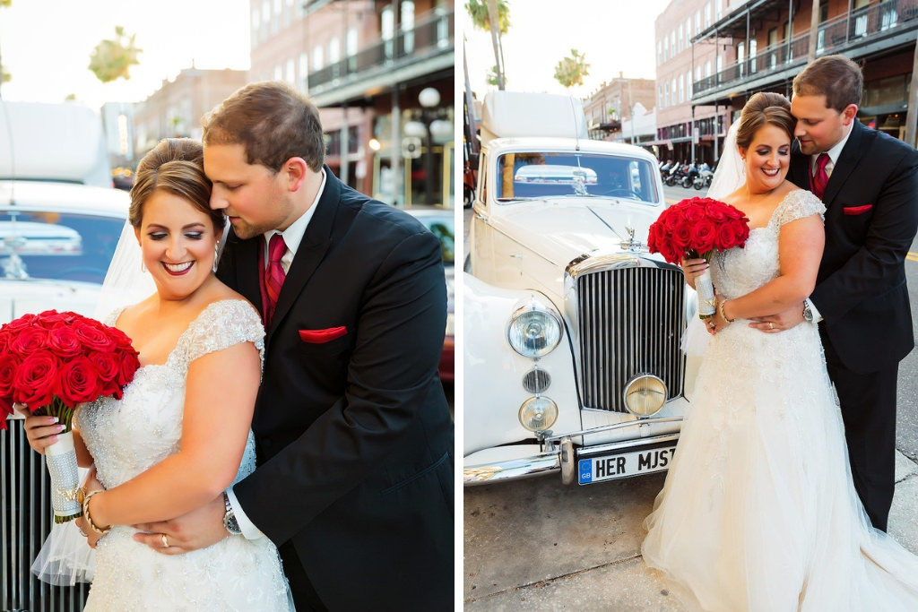 Ybor City Wedding Portrait Sweetheart Cut Wedding Dress with Lace Sleeves, Red Rose Wedding Bouquet and White Vintage Rolls Royce | Tampa Bay Bridal Shop Truly Forever Bridal