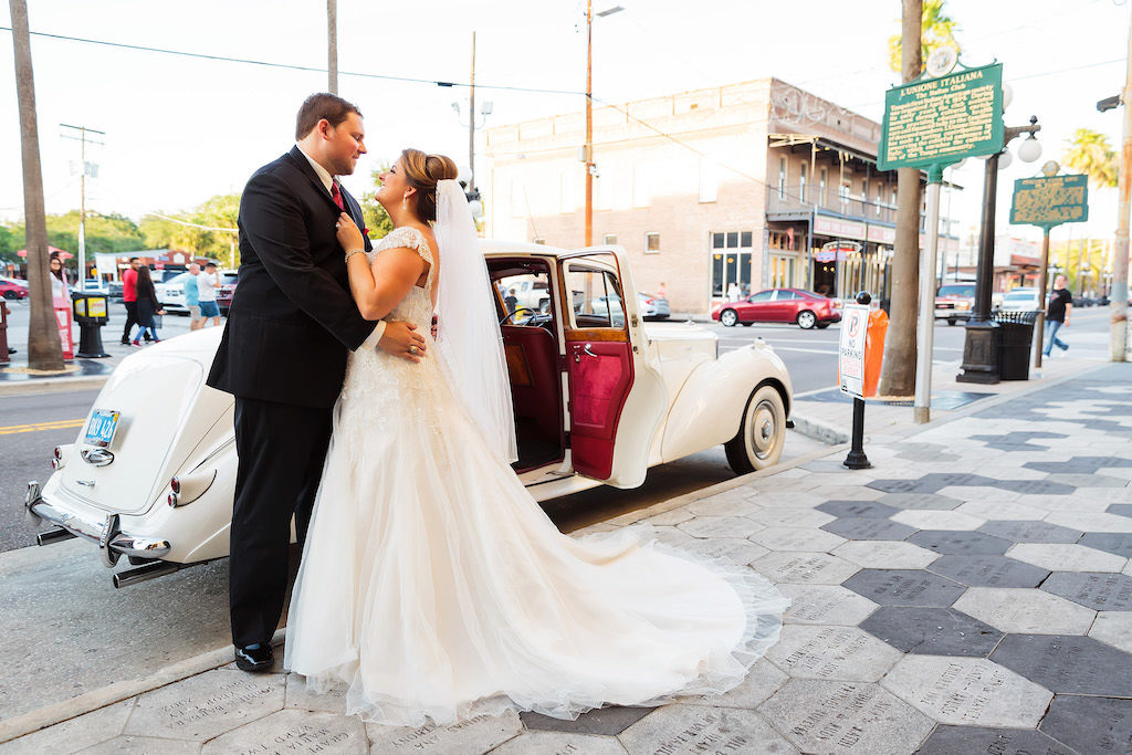 Ybor City Wedding Portrait Sweetheart Cut Wedding Dress with Lace Sleeves and White Vintage Rolls Royce | Tampa Bay Bridal Shop Truly Forever Bridal