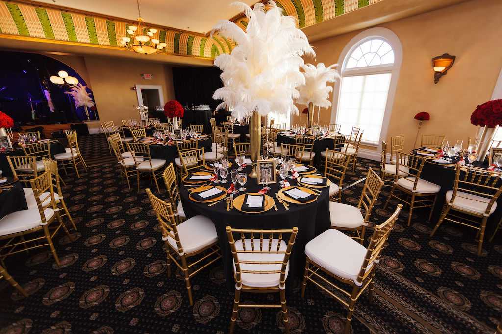 Black and Gold Vintage 1920's Great Gatsby Inspired Wedding Reception with White Feather Centerpieces | Downtown Tampa Ybor City Wedding Venue Italian Club