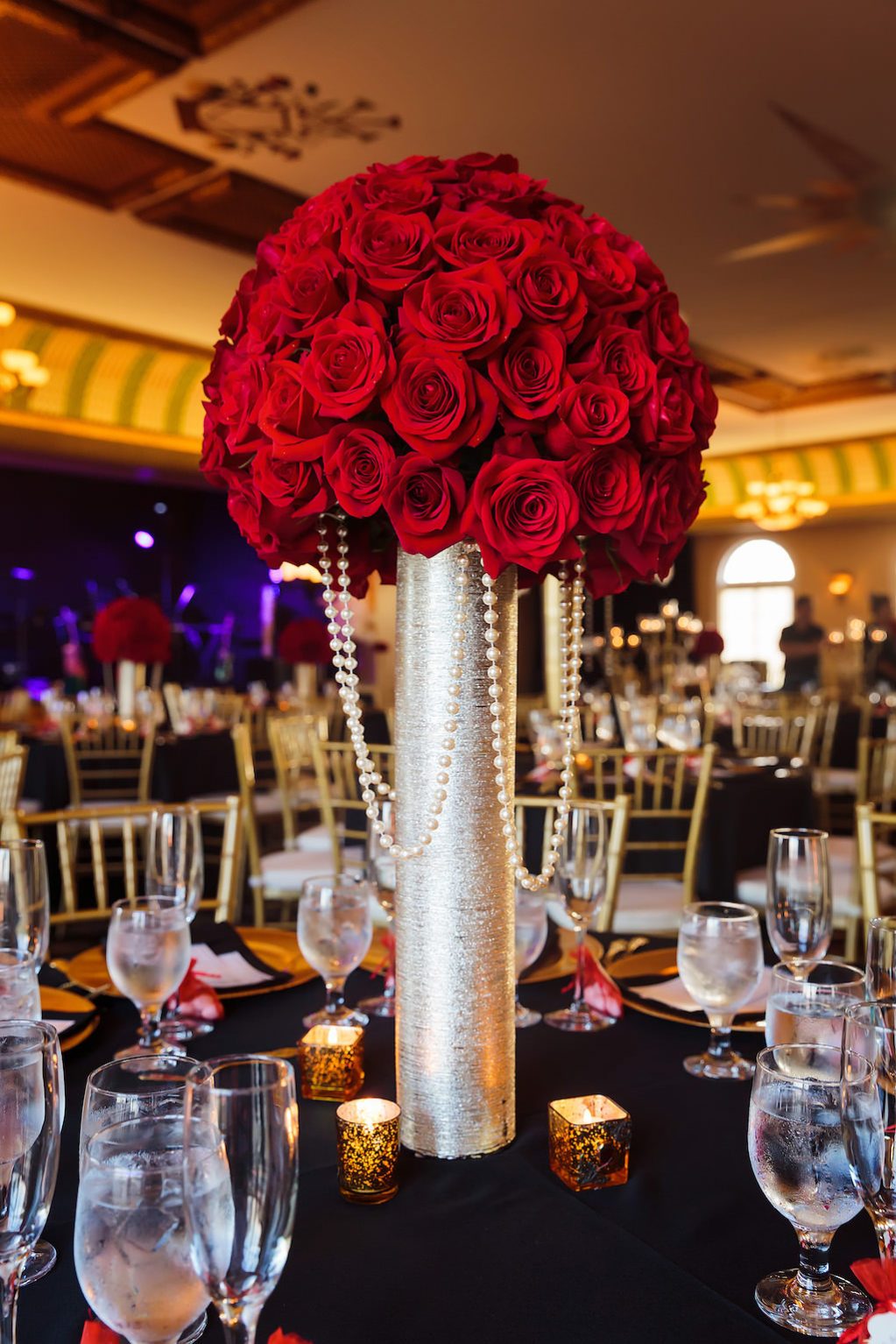Black Vintage 1920's Great Gatsby Inspired Wedding Reception with Tall Red Rose Centerpieces | Downtown Tampa Ybor City Wedding Venue Italian Club