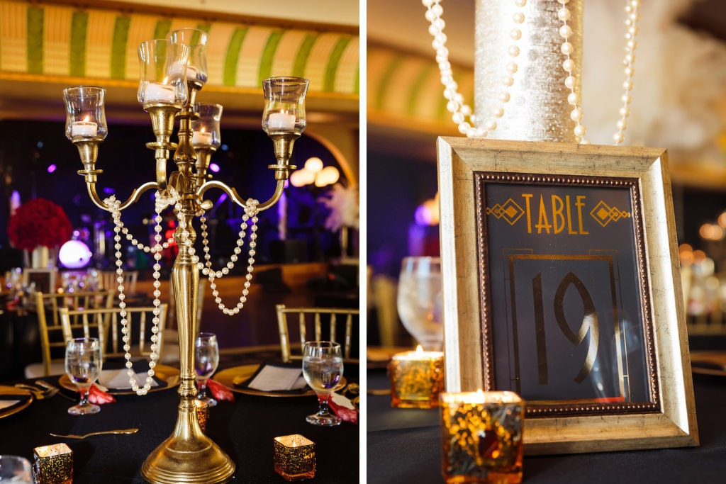 Black and Gold Vintage 1920's Great Gatsby Inspired Wedding Reception with Candlestick Centerpieces and Framed Table Number | Downtown Tampa Ybor City Wedding Venue Italian Club