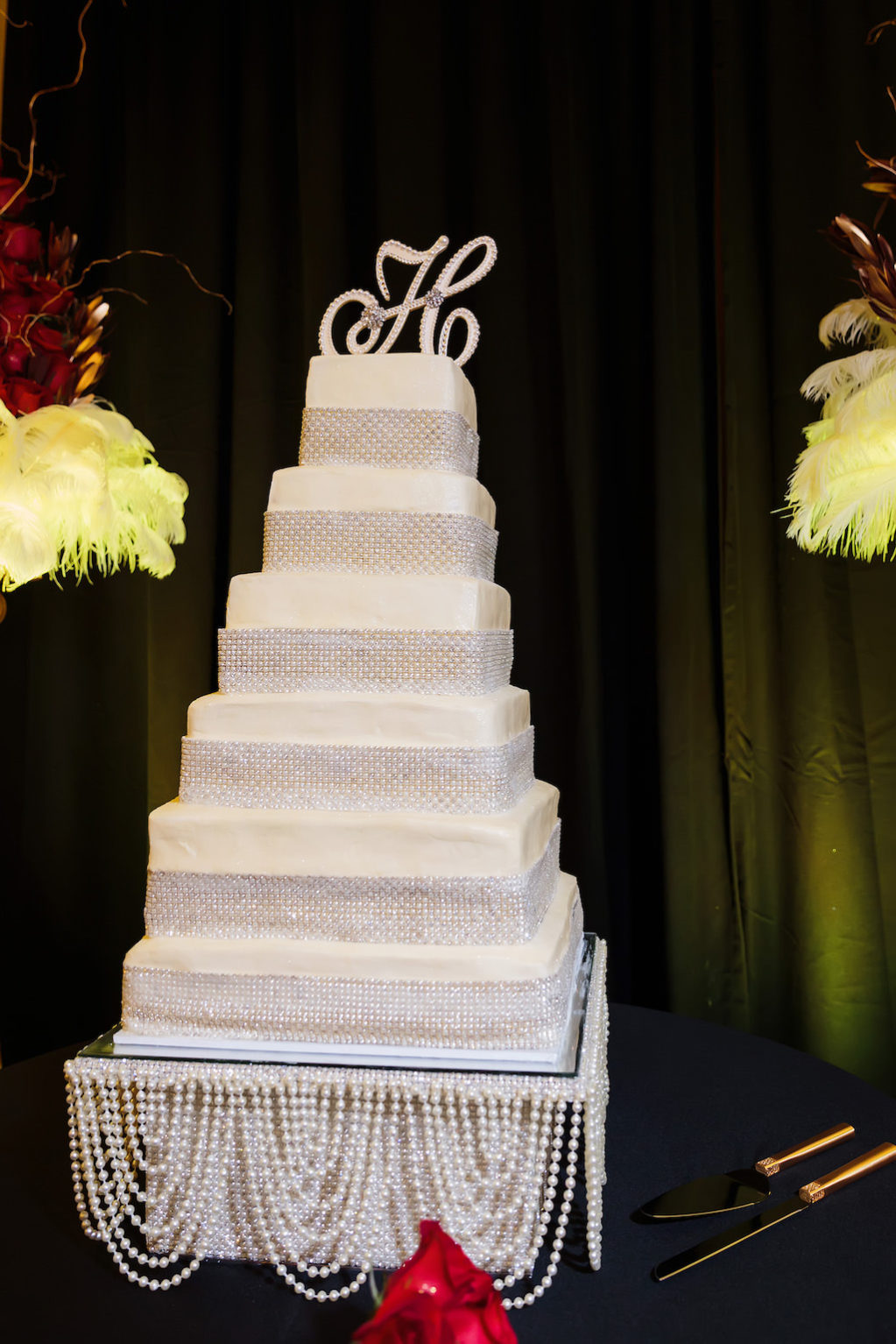 Six Tier Square Wedding Cake with Rhinestones and Monogrammed Cake Topper