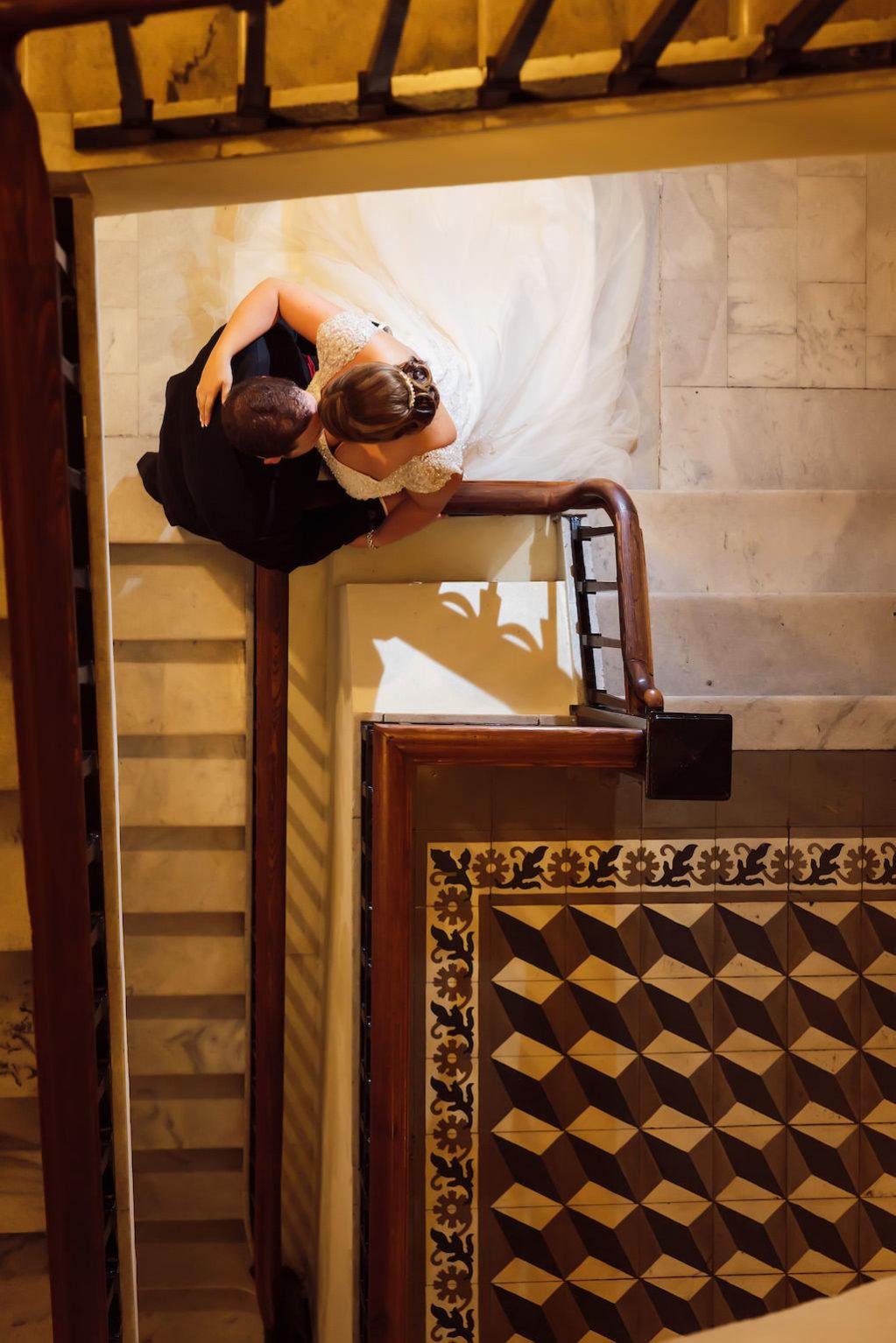 Tampa Bay Staircase Wedding Portrait | Ybor City Wedding Venue The Italian Club