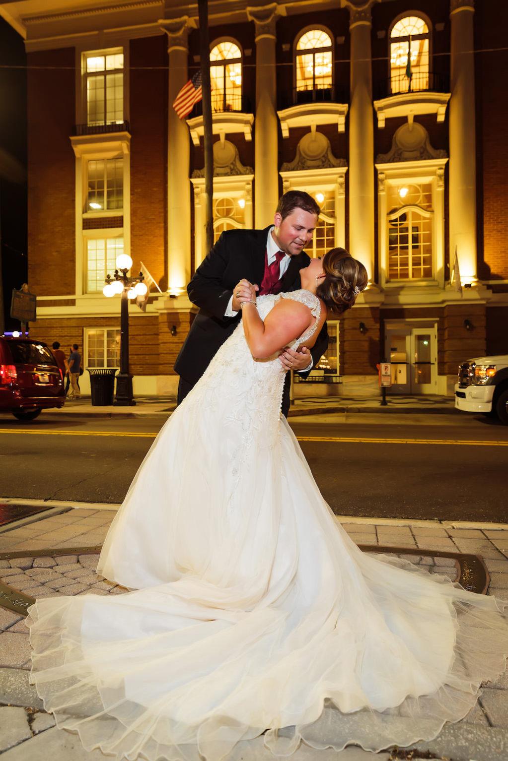 Tampa Bay Nighttime Wedding Portrait | Ybor City Wedding Venue The Italian Club