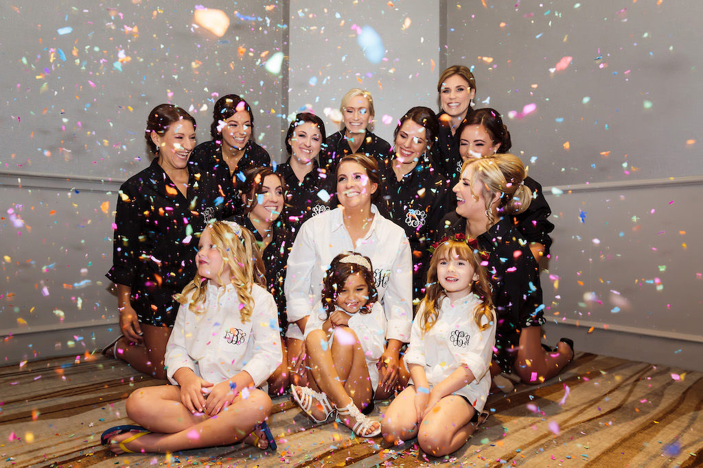 Bridesmaids in Matching Monogrammed Pajamas with Confetti