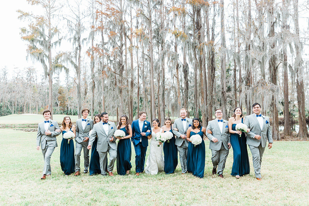 Blue and gray wedding party