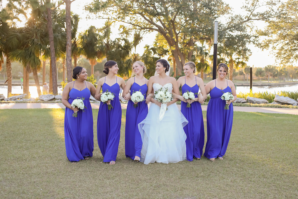 Florida Bride and Bridesmaids Outdoor Wedding Portrait, Bridesmaids in Matching Blue Spaghetti Strap Dresses, Bride in Sweetheart Strapless Lace and Tulle Skirt Ballgown Wedding Dress   Downtown Tampa Wedding Photographer Lifelong Photography Studios