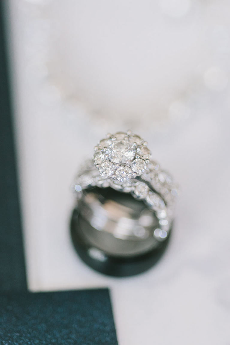 Round Halo Diamond Engagement Ring and Diamond Wedding Ring | Tampa Bay Wedding Photographer Kera Photography