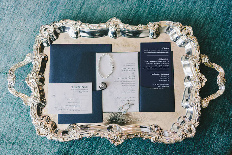 Modern Elegant Navy Blue and White Wedding Invitation Suite on Sterling Silver Serving Tray | Tampa Bay Wedding Photographer Kera Photography
