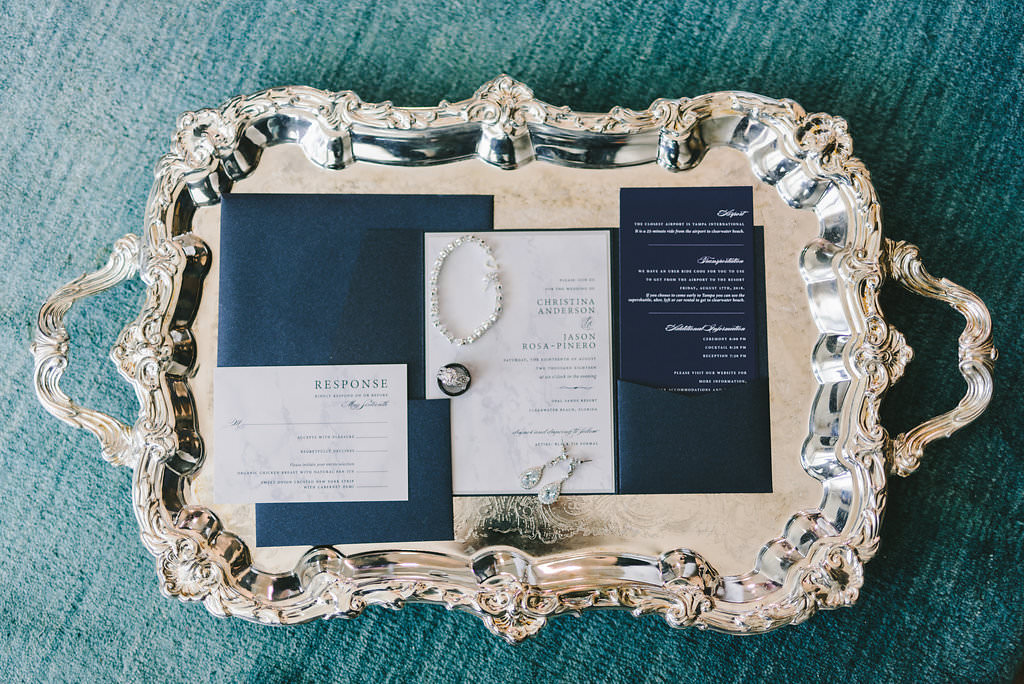 Modern Elegant Navy Blue And White Wedding Invitation Suite On Sterling Silver Serving Tray Tampa Bay Wedding Photographer Kera Photography Marry Me Tampa Bay Local Real Wedding Inspiration