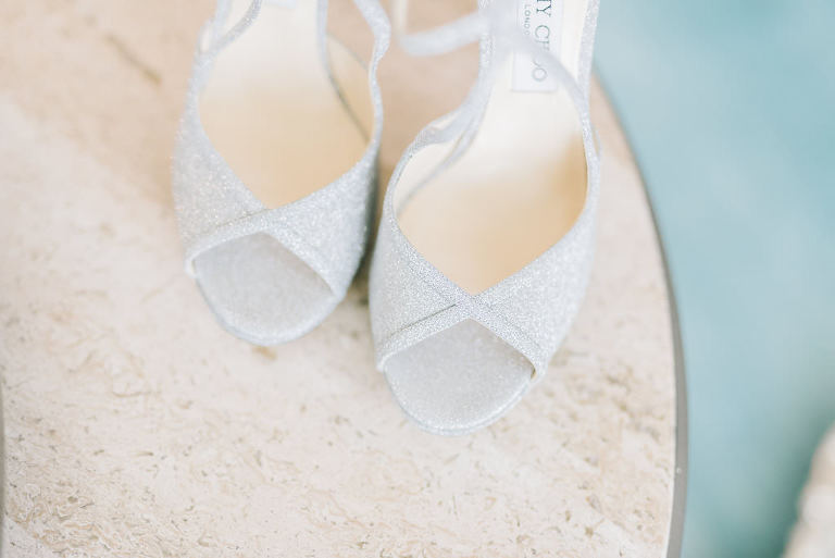 Jimmy Choo Silver Glitter Strappy Sandal Wedding Heel Shoes | Tampa Bay Wedding Photographer Kera Photography