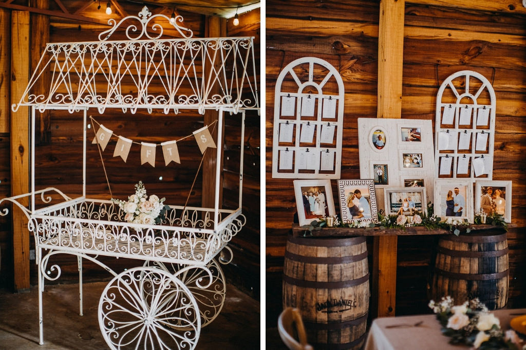 Florida Rustic Inspired Wedding Reception Decor Metal White Wagon