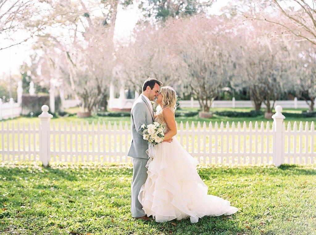 Florida Bride and Groom Outdoor Wedding Portrait | SarasotA Wedding Venue Palmetto Riverside Bed and Breakfast | Tampa Bay Wedding Florist Cotton & Magnolia