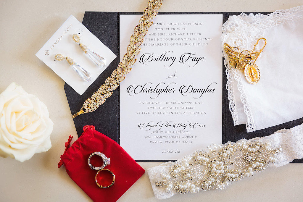 Classic, Timeless Black and White Wedding Invitation with Pearl Lace Garter